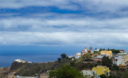 inland: Inland Gran Canaria, Moya village from the hills Stock Photo