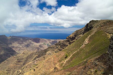 towards: La Gomera, Canary islands, view towards south coast from long distance hiking trail GR 131