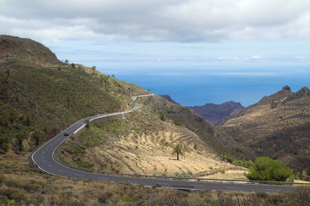 hairpin: La Gomera, Canary islands, view towards south coast, road with hairpin bends Stock Photo