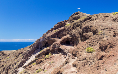 a group of caves La Cueva de los Canarios above El Confital Beach, aboriginal dwellings, Gran Canaria