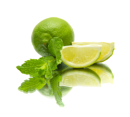 quartered: lime and mint on mirror, isolated on white background