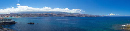 extra large: Gran Canaria, extra large panorama from La Isleta, Las Palmas, El Confital beach on the right, Las Canteras on the left,