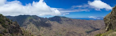 extra large: La Gomera, Canary Islands, view from Degollada de Peraza, extra large panorama Stock Photo