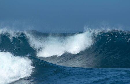 ocean waves: powerful ocean waves breaking natural water background Stock Photo