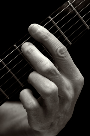 fret: The Tristan chord played on lower four strings of electric guitar Stock Photo