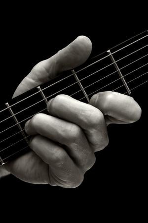 fingering: The Tristan chord played on higher four strings of electric guitar