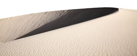 ridge of wave: smooth curve of barchan dune isolated on white Stock Photo