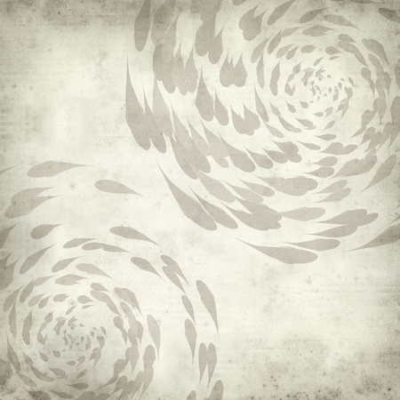 spiralling: textured old paper background with spiralling koi carp illustration Stock Photo