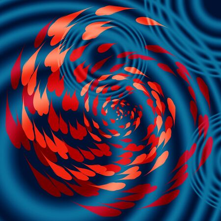 circular water ripple: spiralling koi carp illustration, circular water ripple Stock Photo