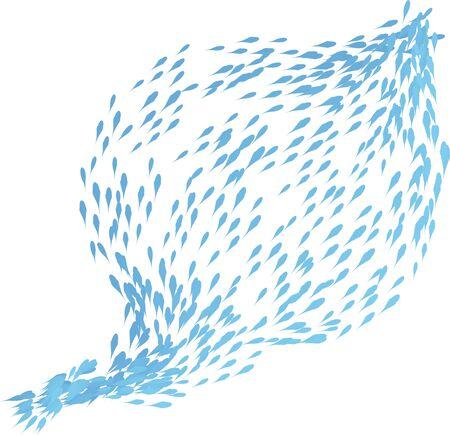 shoal: shoal of fish  illustration on white background Stock Photo