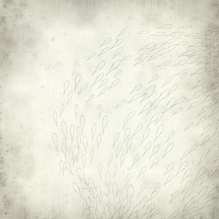 textured old paper background with shoal of koi carp illustration