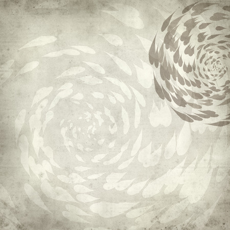 textured old paper background with spiralling koi carp illustration Stock Photo