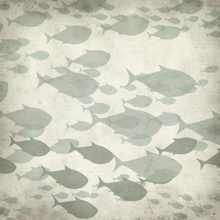 textured paper: textured old paper background with swimming fishes