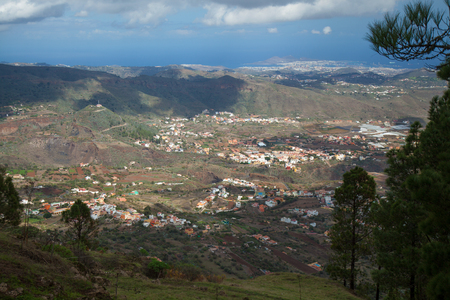 las palmas: Gran Canaria, view from above over Valsequillo; Las Palmas in far distance