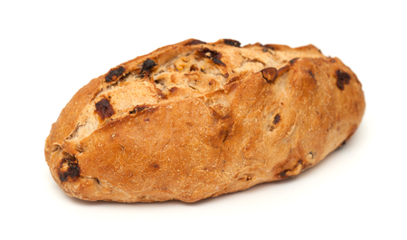 sultanas: bread with raisins and walnuts isolated on white background