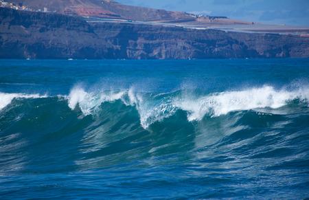 ocean and sea: powerful ocean waves breaking by the coast of Gran Canaria, Banaderos - Quintanilla area