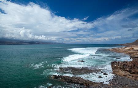 down beat: Gran Canaria, El Confital beach on the edge of Las Palmas, La Isleta peninsula, 24 October, the day after big rains beat down on Canary islands