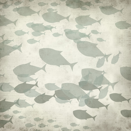 spiralling: textured old paper background with swimming fishes