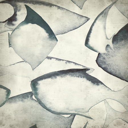 spot the difference: textured old paper background with watercolor fish outlines
