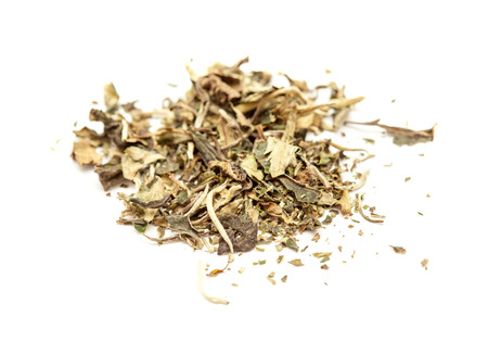 white tea  Pai Mu Tan leaves isolated on white background Stock Photo