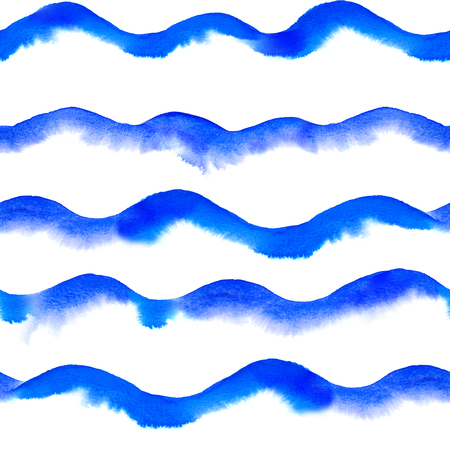 repeatable: watercolor waves repeatable seamless art background Stock Photo