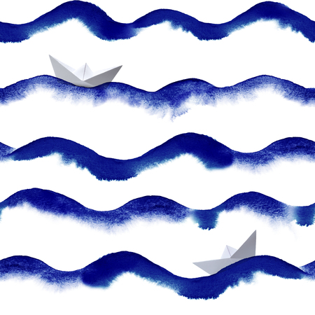 repeatable: watercolor waves with paper boat repeatable seamless art background