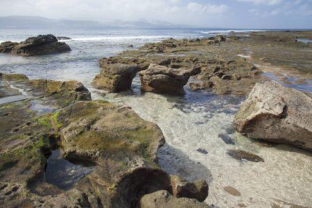 nudist: rock formation on El Confital beach, Las Palmas de Gran Canaria