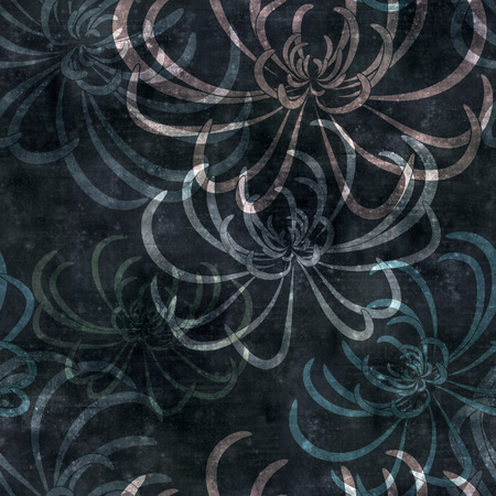 mould: seamless repeatable old paper background with spider chrysanthemum illlustration, square Stock Photo
