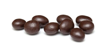 dragees: chocolate coated almonds  isolated on white background Stock Photo