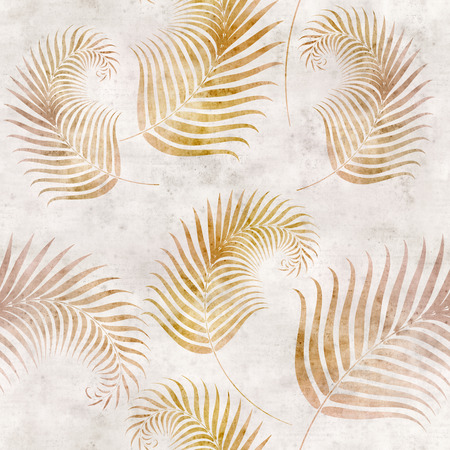 mould: seamless background with fern leaf pattern on old paper Stock Photo