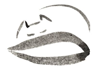 dozing: sleeping cat black and white ink sketch Stock Photo