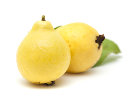 guava fruit: yellow, normally called white, guava fruit isolated on white background Stock Photo