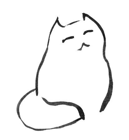 curledup: sitting cat looking upwards hopefully, feed me illustration