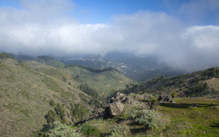 burro: Inland Central Gran Canaria, Las Cumbres, highest areas of the islands, view towards Panza de Burro, Donkey Belly, cloud cover almost always present at the north of the Canary Islands Stock Photo