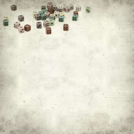 spot the difference: textured old paper background with many small dice