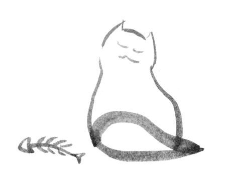 curledup: sitting cat looking dreamy, illustration