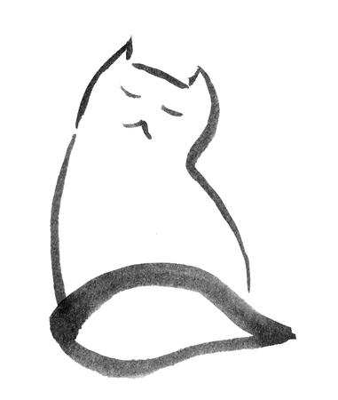 sitting cat lookingdreamy, illustration