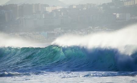 unstoppable: powerful ocean waves breaking by El Confital Beach, Las Palmas de Gran Canaria