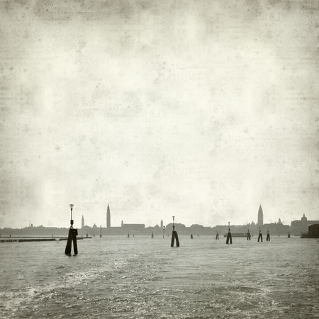 campanille: textured old paper background with skyline of Venice, as seen from the sea