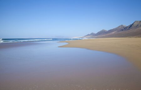 windward: Fuerteventura, Canary Islands,  wide sandy Cofete beach on Jandia Peninsula
