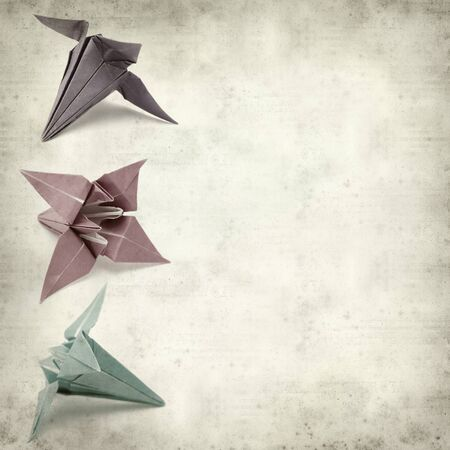 textured paper: textured old paper background with origami flower