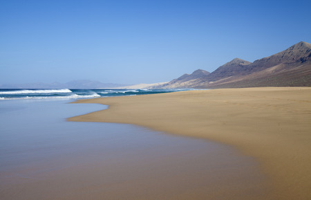 windward: Fuerteventura, Canary Islands,  wide sweep of Cofete beach on Jandia Peninsula, panorama