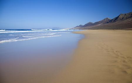 windward: Fuerteventura, Canary Islands,  wide seep of Cofete beach on Jandia Peninsula