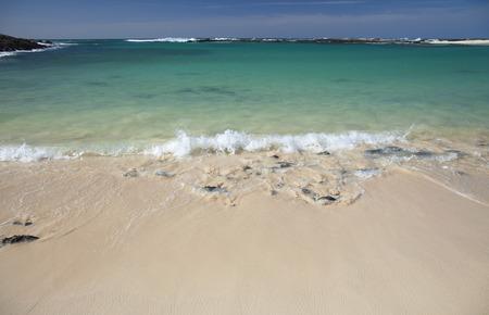 sheltered: Fuerteventura, Canary Islands, sheltered white sand Playa La Concha beach at El Cotillo village