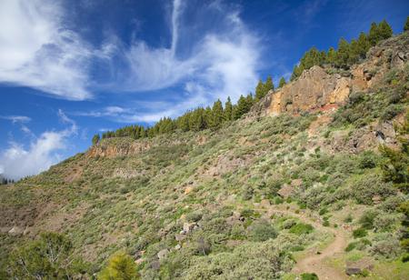 strata: Gran Canaria, Caldera de Tejeda in February, hiking path along caldera wall, different colors visible in strata Stock Photo