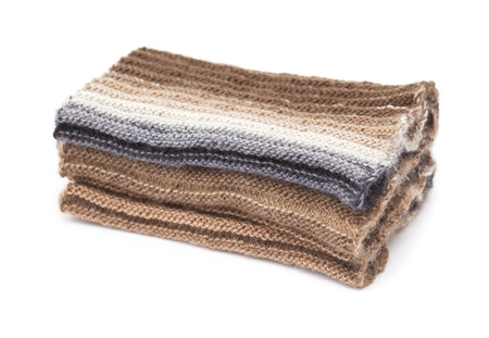 gradual: two-sided ribbed knitted scarf, gradual color change, isolated