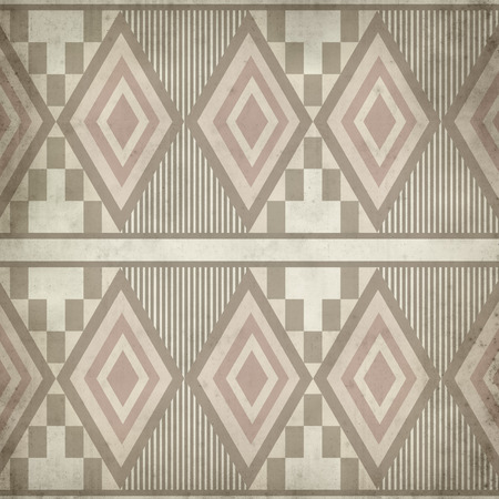 geometrical pattern: textured old paper background with ethnic geometrical pattern