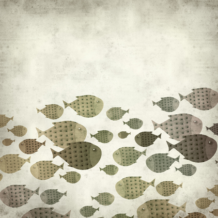 spot the difference: textured old paper background with swimming fish illustration