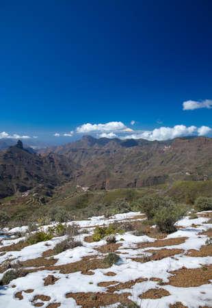 unusually: Gran Canaria, Caldera de Tejeda in February 2016, two days after unusually heavy snowfall