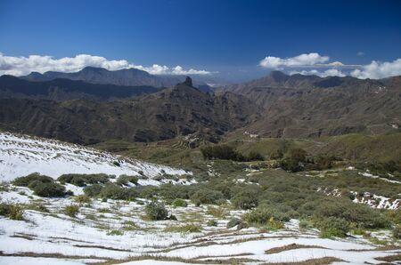 unusually: Gran Canaria, Caldera de Tejeda in February 2016, two days after unusually heavy snowfall